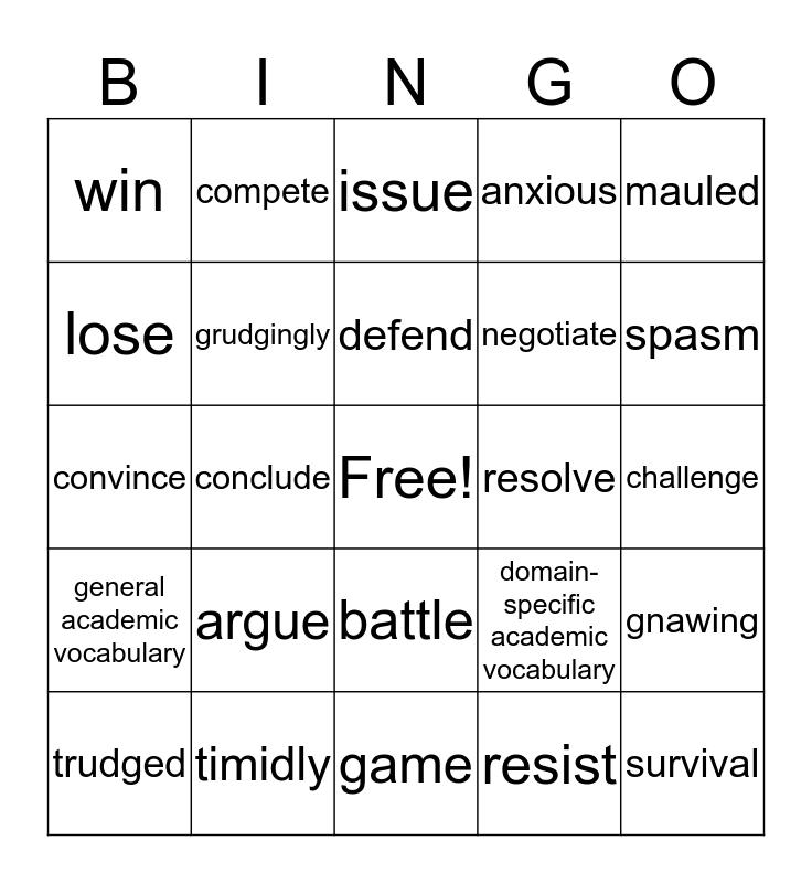 LA Vocab  Bingo Card