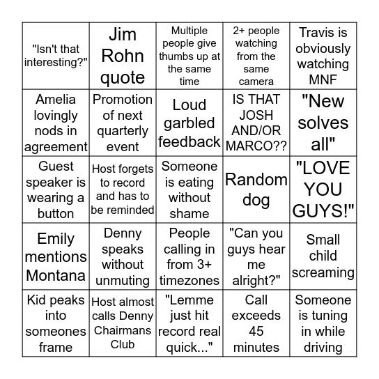 Monday Night Team Call Bingo Card