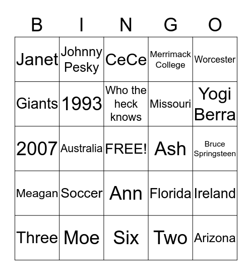 Maureen Mullen BINGO Card