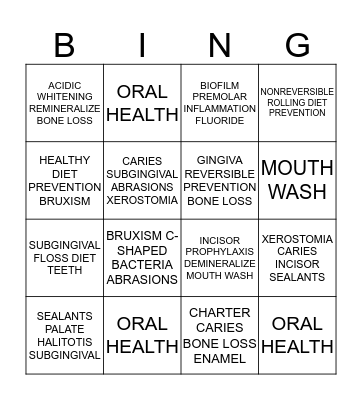 ORAL HEALTH Bingo Card