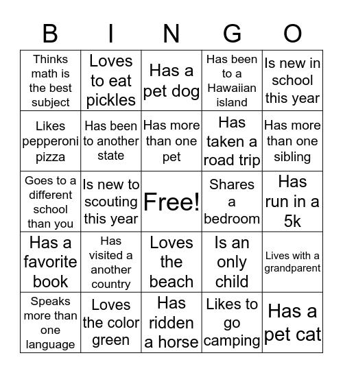 Brownie Bingo - Find Someone who ..... Bingo Card