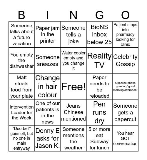 BioScript NS Bingo Card