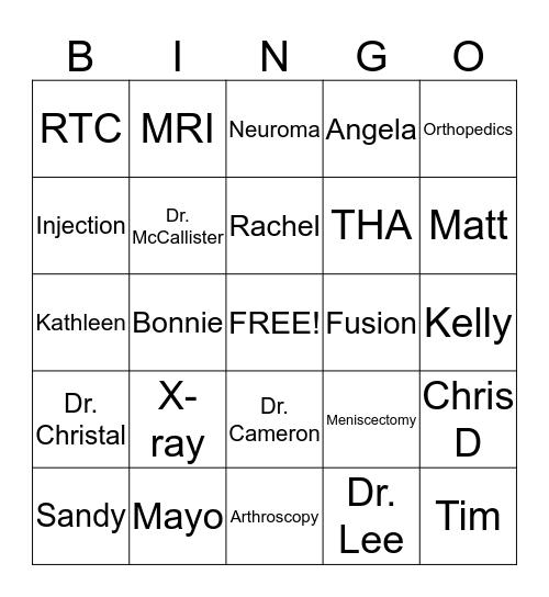 Edmonds Orthopedic Bingo Card