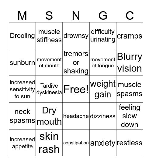 Side Effects Bingo Card