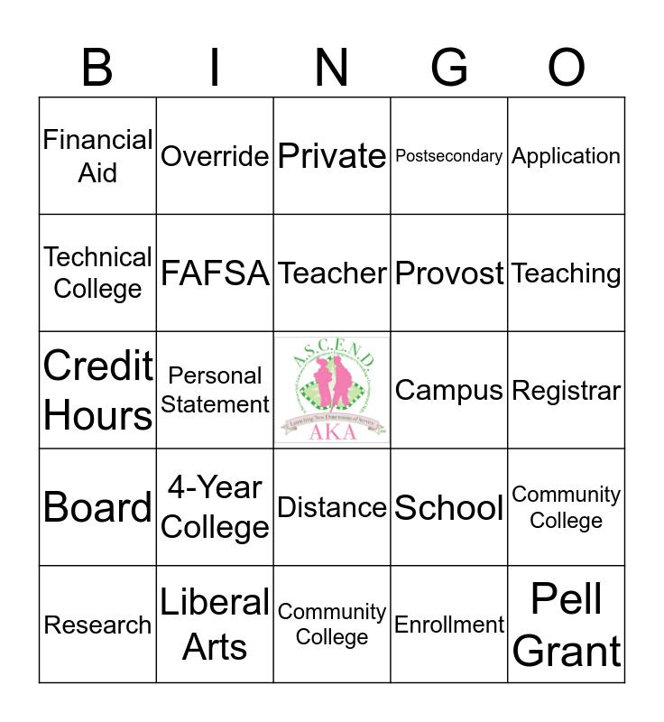 ASCEND College Exploration 7 Bingo Card