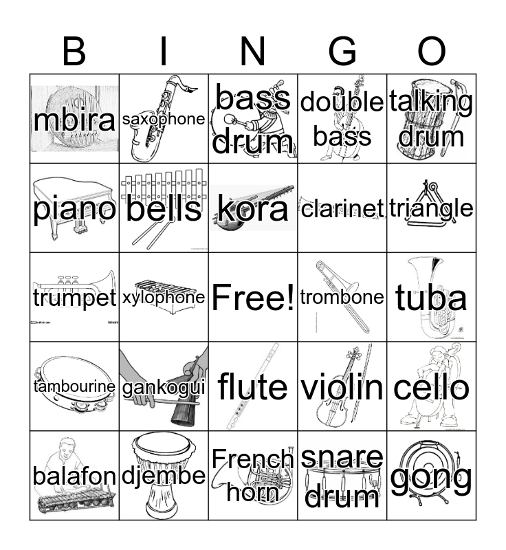 Instruments Bingo Card
