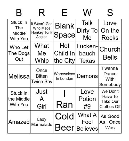 Boondocks Brews, Beats & Bingo Card