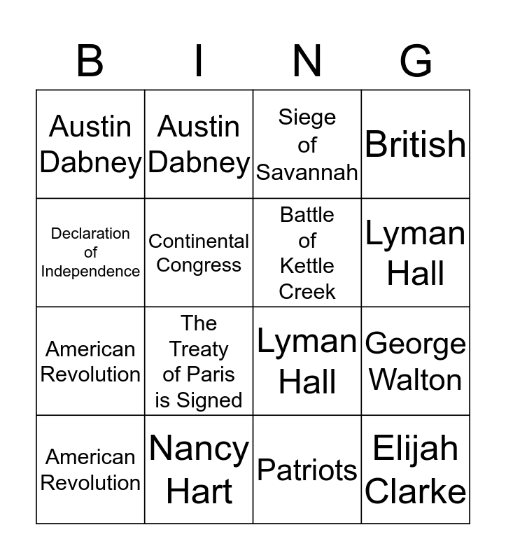 American Revolution BINGO Card