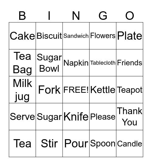 Tea Party Bingo Card