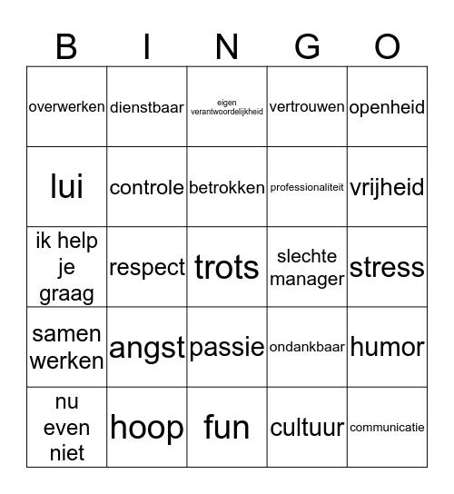 Cultuurwaarden Bingo Card