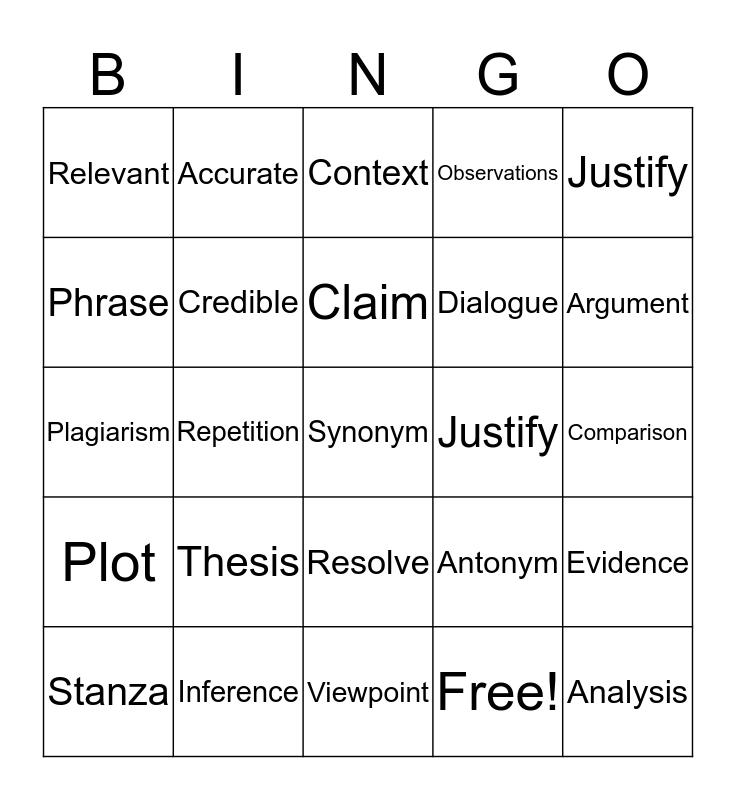 Testing Vocab Bingo Card