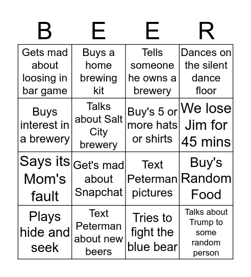 Jim's GABF Adventure Bingo Card