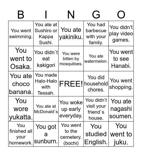 I Know What You Did Last Summer Bingo Card