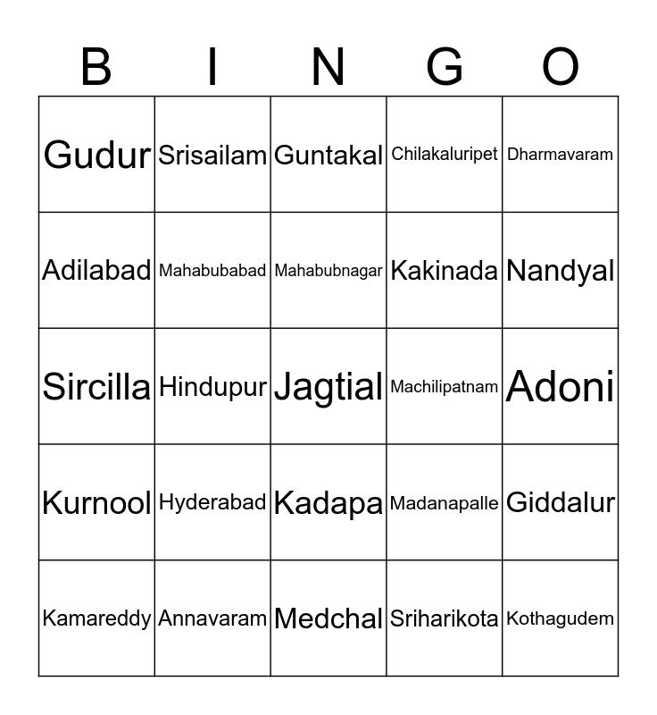 Telugu Cities Bingo Card