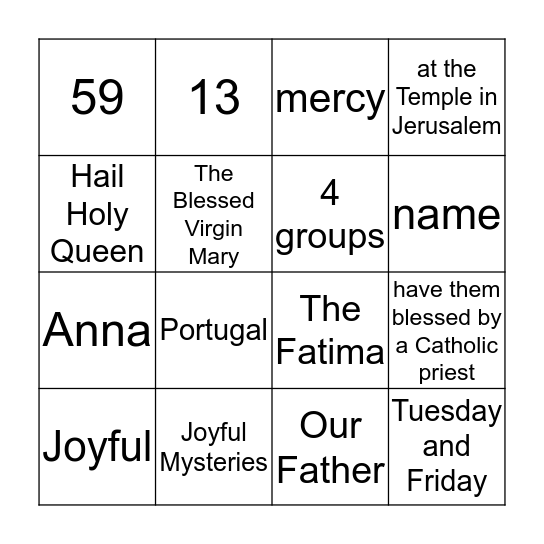100 YEARS WITH OUR LADY OF FATIMA Bingo Card