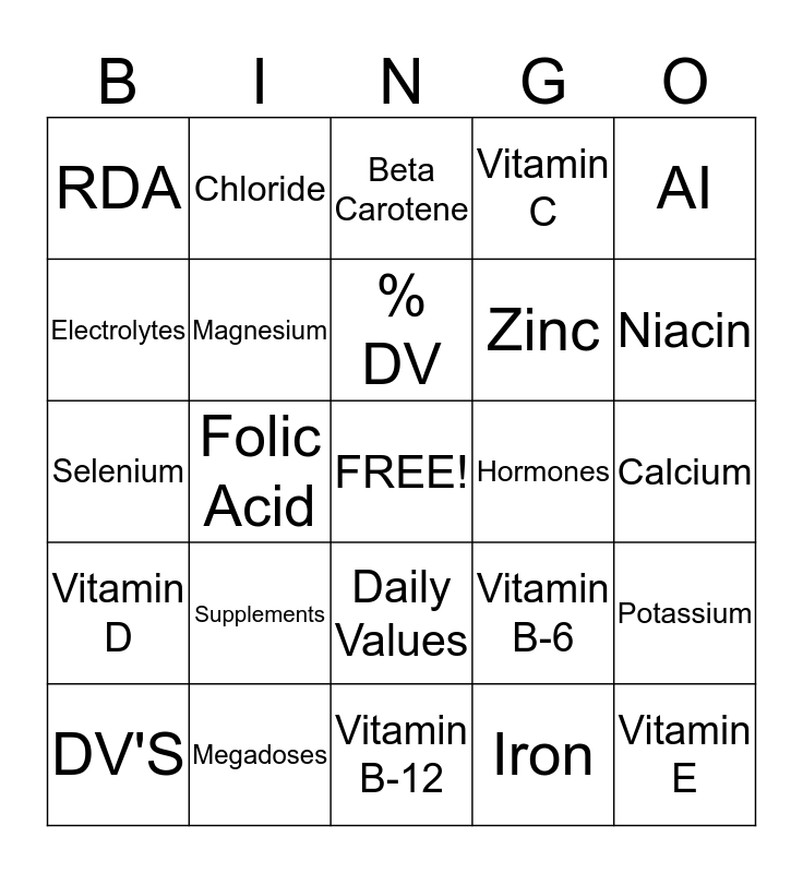 Vitamins and Minerals Bingo Card