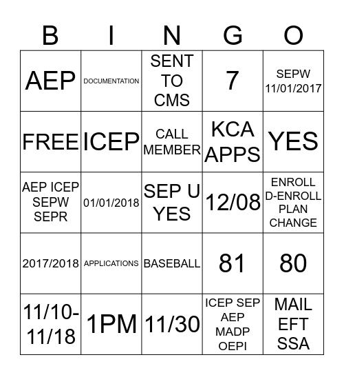 AEP  Bingo Card