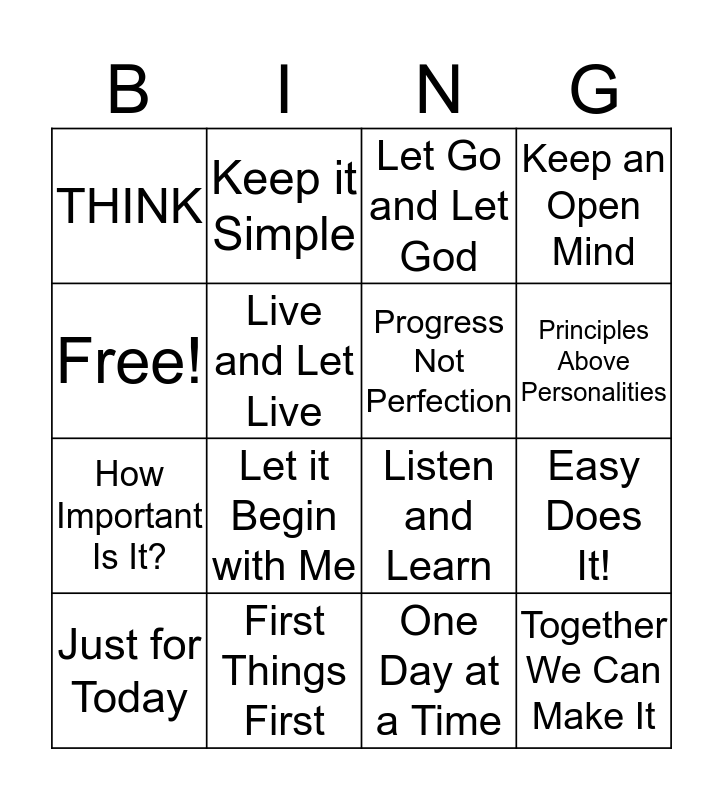 Hope in the Slope! Bingo Card