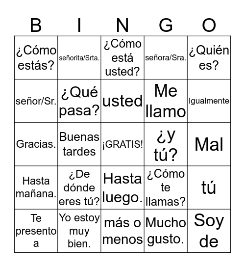 Greetings and Introductions Bingo Card