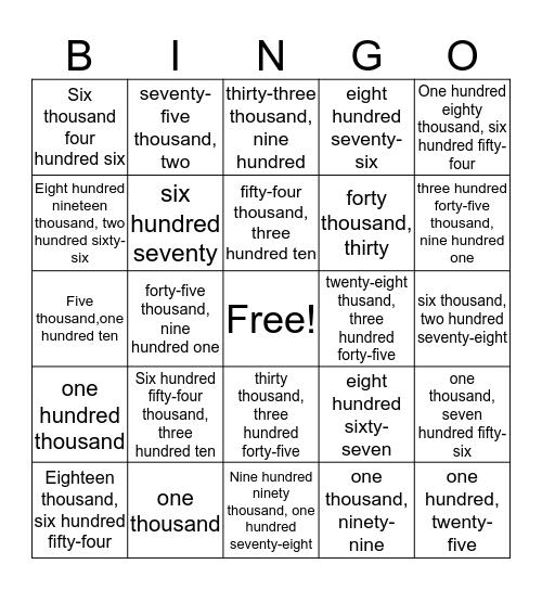Written Form Bingo Card