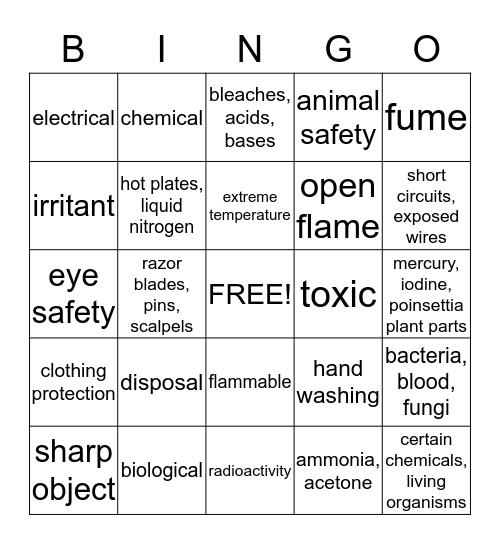 Safety Symbols Bingo Card