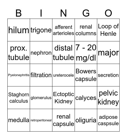 Urinary Bingo Card