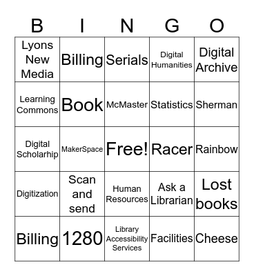 Library Bingo  Bingo Card