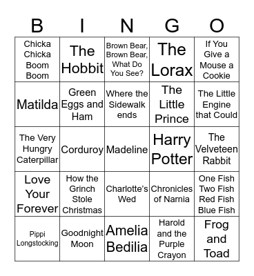 Children's Books Bingo Card