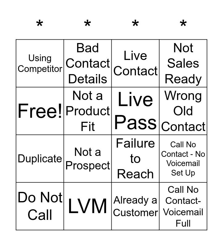 Disposition Bingo Card