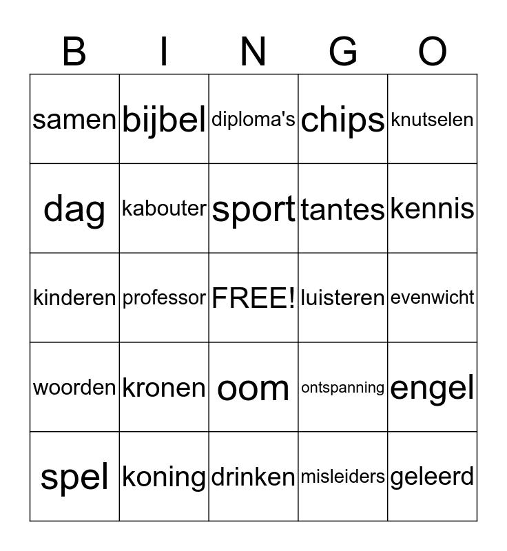 sleutels Bingo Card