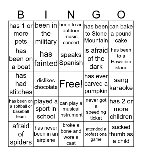 Have you ever Bingo Card