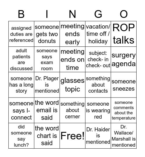 Peds Ophth Bingo Card
