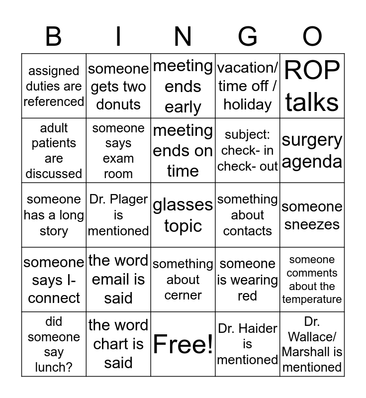 Peds Ophth Bingo Card