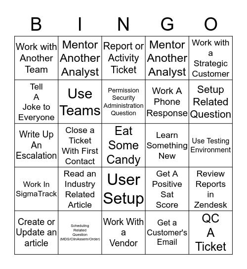 SUPPORT BINGO - L2 Bingo Card