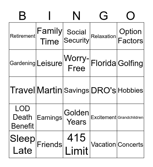Retirement Bingo Card