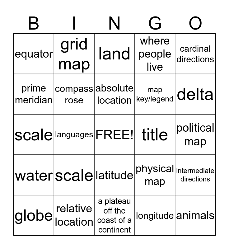 Map Skills Bingo Card