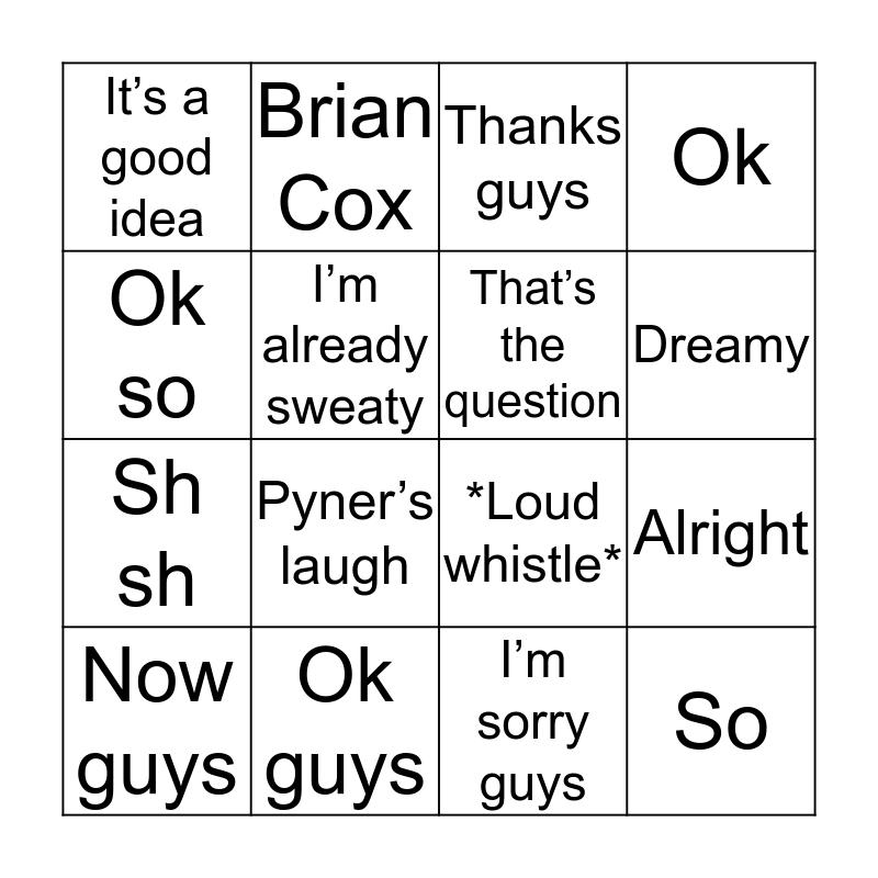 Pyner bingo Card