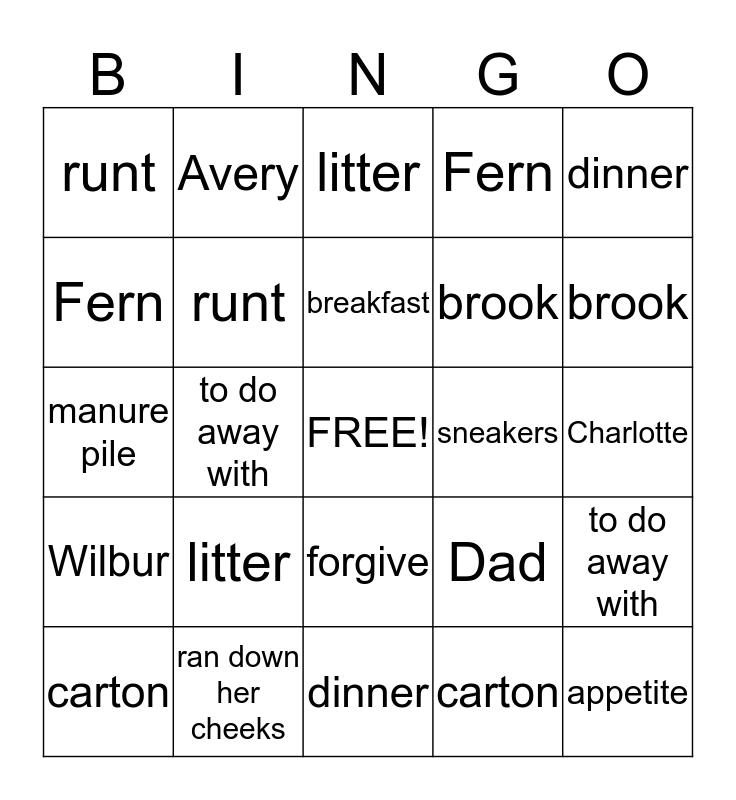 Charlotte's Web Vocabulary  Bingo Card