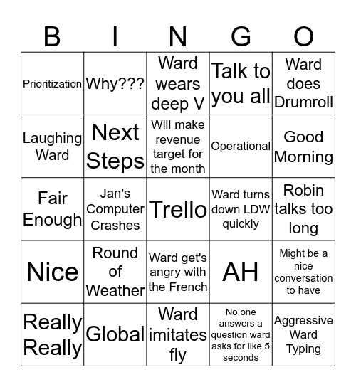 Wardingo! V6.28 Bingo Card