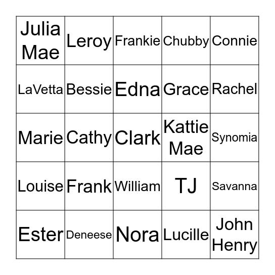 Clark Family Bingo Card