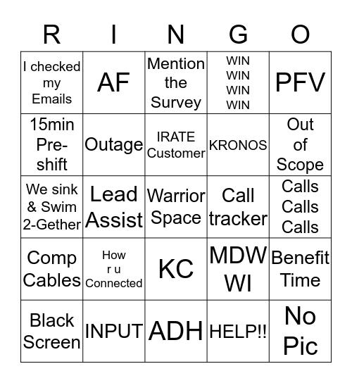 WARRIOR Ringo  Bingo Card