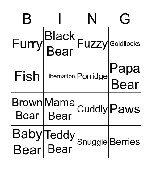 Teddy Bear Bingo Card
