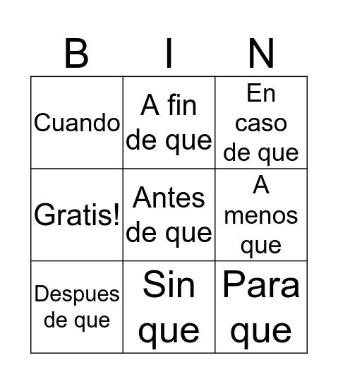 Adverbial Bingo Card