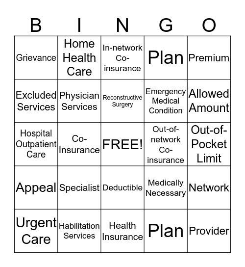 Health Coverage Terms  Bingo Card