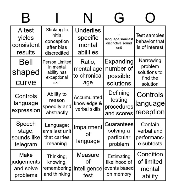 Thinking, Language, and Intelligence Bingo Card