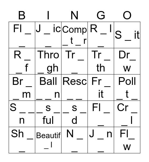 Missing Grapheme Bingo Card