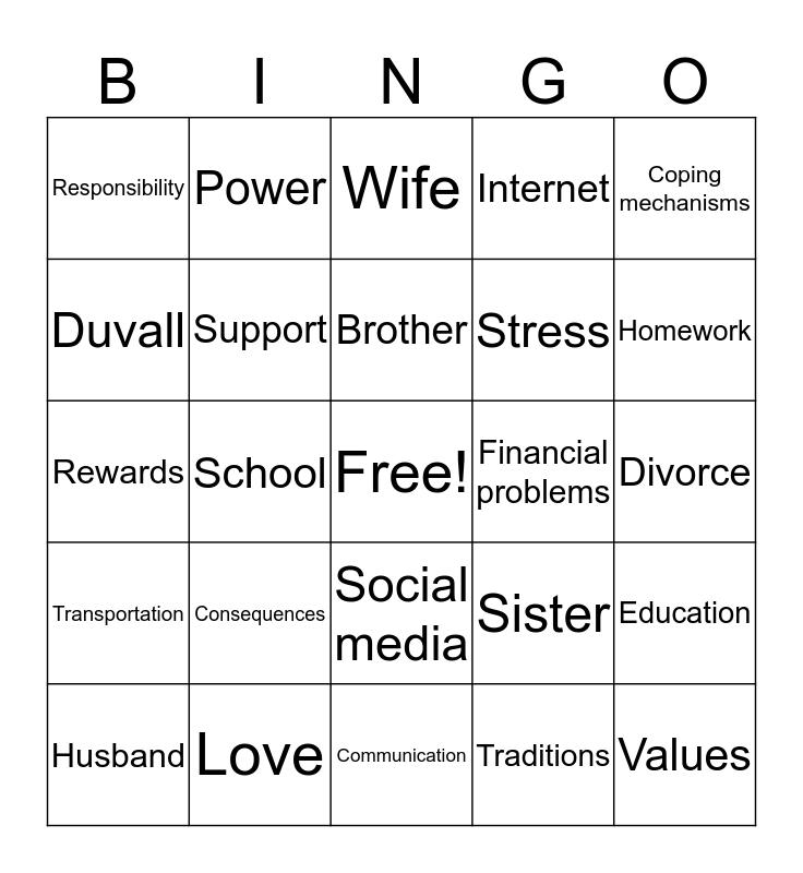 Family with School Children Bingo Card