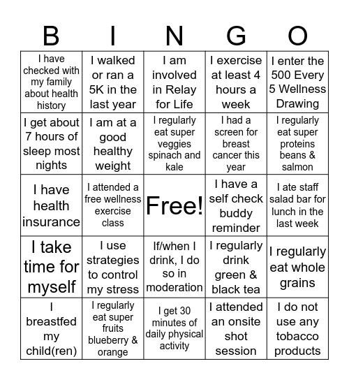 Reduce Breast Cancer Bingo Card