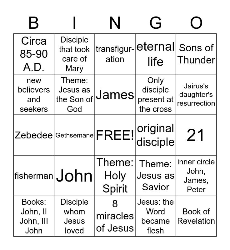 Gospel of  Saint John Bingo Card