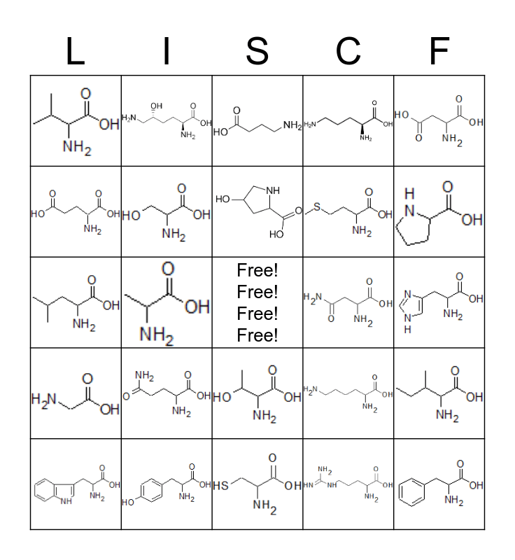 Amino Acid Bingo Card